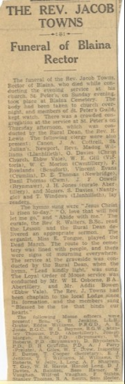 Newspaper cutting re death of Rev. Jacob Towns in 1936