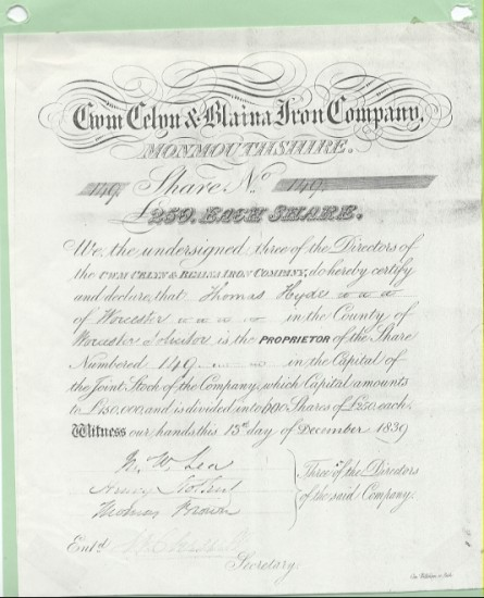 Cwm Celyn and Blaina Iron Company