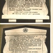 Garnfach Methodist Church. Built 1883 closed 21st October 1991. Plaques displayed in Church.