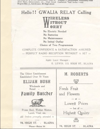 Adverts for radio, butchers and florist.