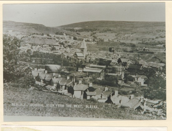 General View from the West, Blaina. Backs of Victoria Street, Gas Works, Railways Station, Lower Deep Pit.
