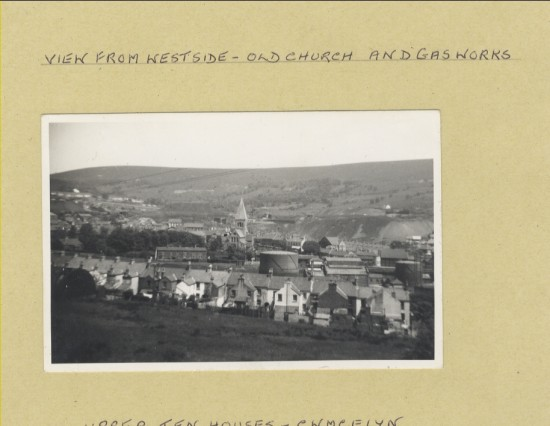 View from Westside, old church and gas works