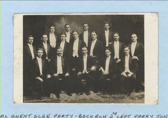 Royal Gwent Glee PartyBack Row 2nd left, Parry Jones. Middle Row far right ,George Price, went to USA.