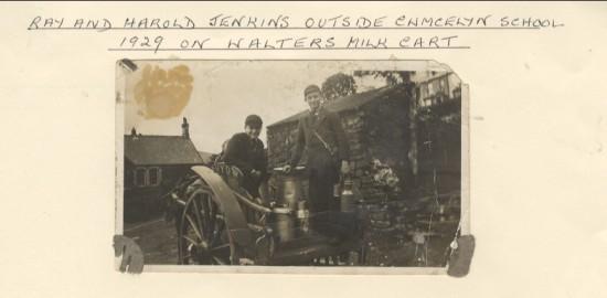 Ray and Harold Jenkins outside Cwmcelyn School on Walter's Milk Cart
