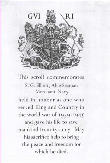 Scroll to commemorate Stanley George Elliott