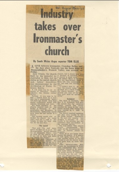 South Wales Argus, October 1963; 'Industry takes over Ironmaster's Church'.  Crawshay Bailey.  Holy Trinity Church.