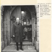 The Archbishop of Wales, Dr. Edwin Morris, standing at the porch of Nantyglo Parish Church after the Deconsecration Ceremony held on Friday, 11th October 1963