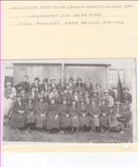 Salvation Army Home League, Nantyglo, late 1930s.  Lieutenant Cox near flag.  Also includes Gran Gwillym (born 1871, died 1944)