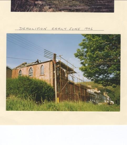 Demolition of Cwmcelyn Methodist Chapel, June 1996