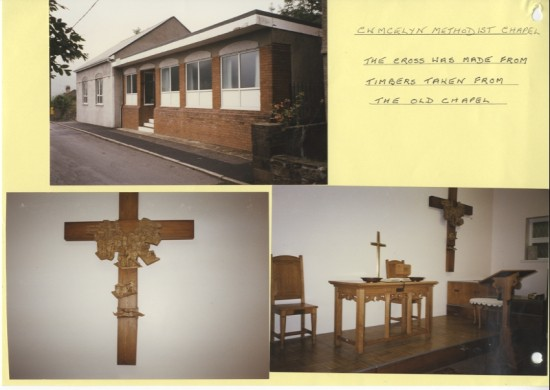 Cwmcelyn Methodist Chapel.  The cross was made from timbers taken from the old chapel