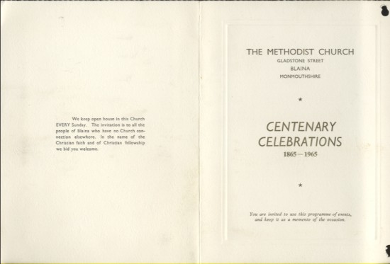 The Methodist Church, Blaina.  Centenary Celebrations 1865 to 1965 (part 1 of 2)