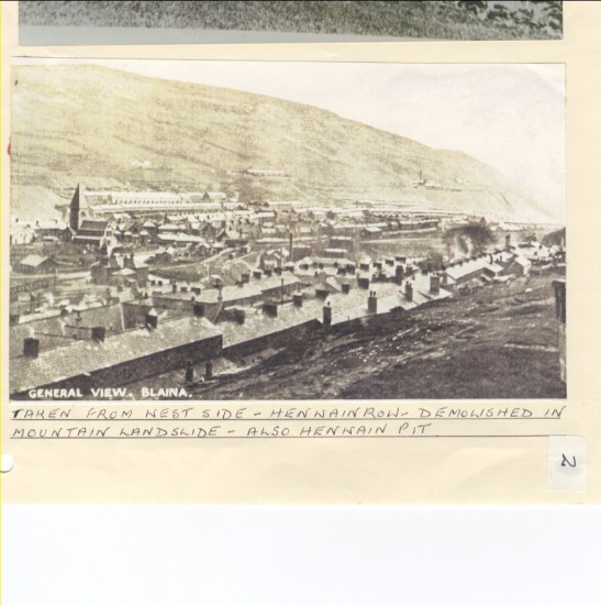 View from West Side, Henwain Row demolished by mountain landslide  also Henwain pit