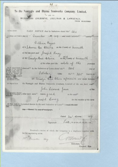 Document to Nantyglo and Blaina Ironworks Company Limited and Messieurs Colborne, Coulman and Lawrence