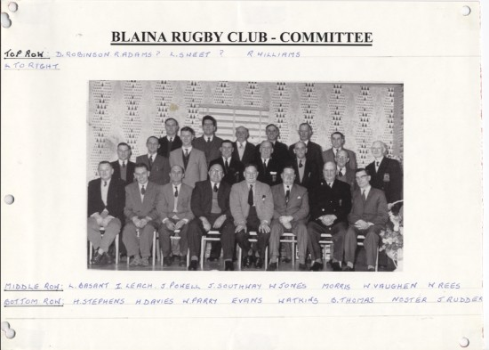 Blaina Rugby Club, Committee