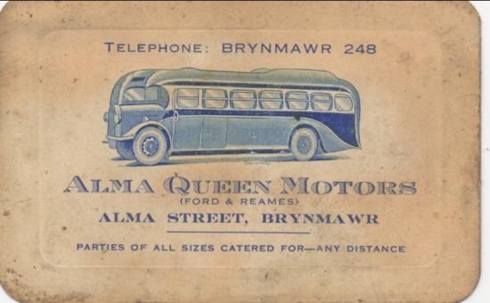 Alma Queen Motors business card