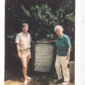James Avery and his Aunt Martha Phillips, at the family stone, facing Ffynon Baptist Church.