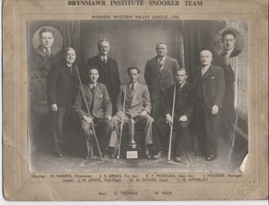 Brynmawr Snooker Team winners western vally.
