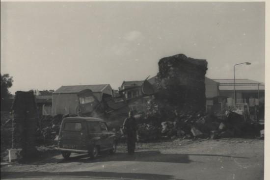 Demolition of the railway bridge across Abertillery Road.