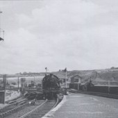 Light engine 40145 approaching the station in the 1950s