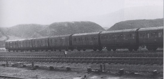 A rake of miners' coaches in the carriage sidings