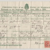 Marriage Certificate of Wilfred Bythel and Edith Luff, 1932