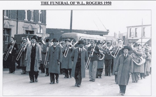 Brynmawr  Silver Band playing at the Funeral of the late Mr William (Billy) Rogers there Conductor for many years