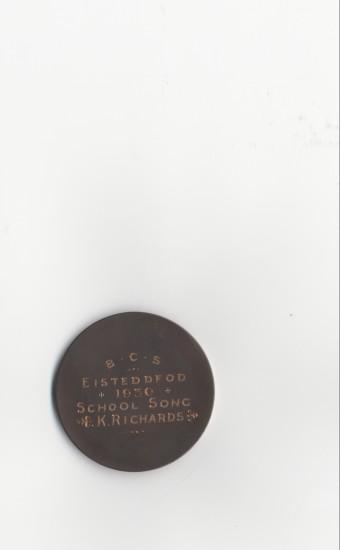 Brynmawr County School Eisteddfod Medal, 1930 (reverse)
