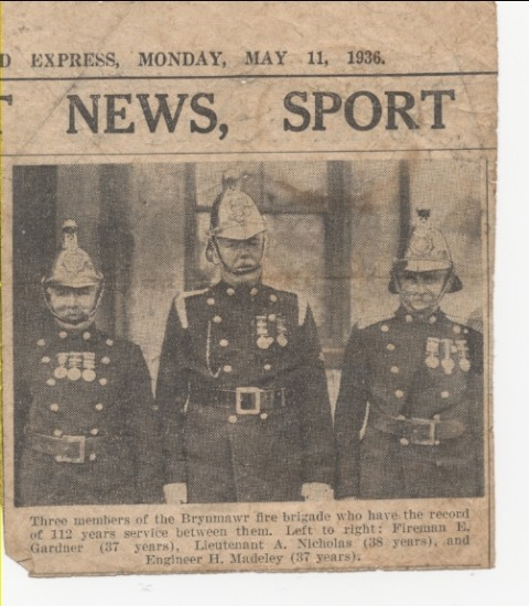 Brynmawr Fire Brigade senior members, 1936