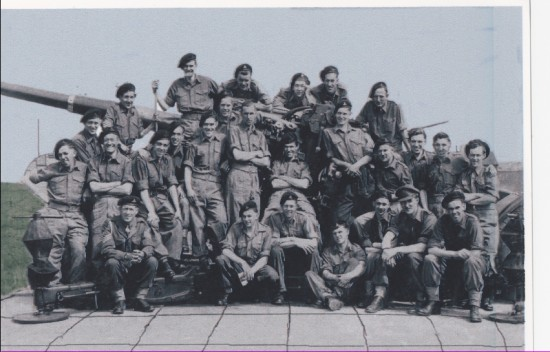 Gunner Rowan Williams and members of 70th HAA, Royal Artillery, 1947.