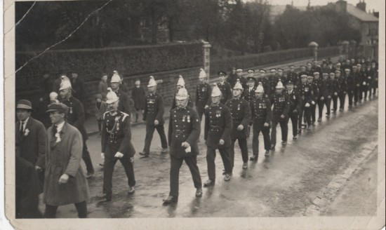 Brynmawr Fire Brigade on parade, 1927