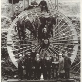 A new pit head wheel at Marine Colliery