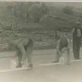 Road painting on the Cwm Road, 1940s.