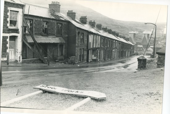 Waunlwyd, General.  Station Road  before demolition.
