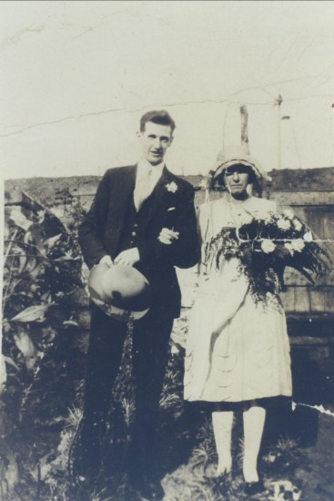 Wedding of William Mills and Irene Long, taken in the garden of 61 Curre St.