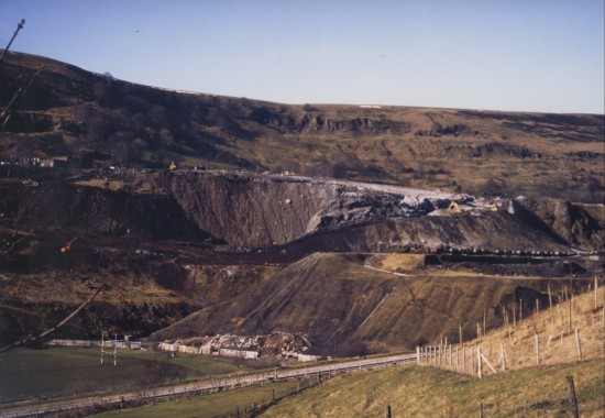Slag Tips in 1986 being demolished in preparation for Garden Festival Wales 1992.
