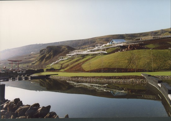 Garden Festival Wales landscaping 1990 view South.
