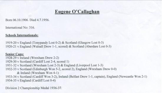 Eugene O'Callaghan International Appearances.