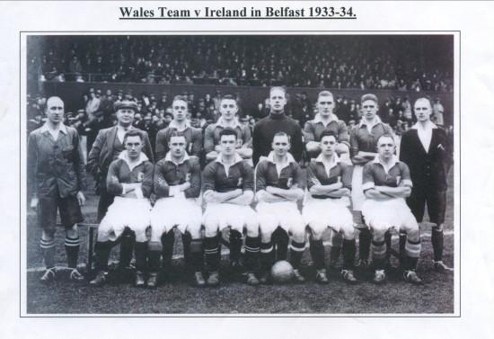 Wales Football Team in Belfast 1933.Wales 1 Ireland 1.