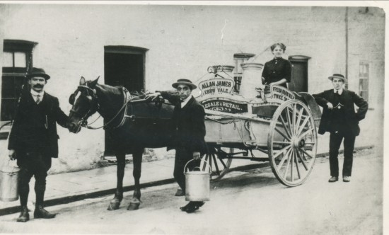 Alan James, Milkman, delivering milk in Augustus Street,Victoria.
