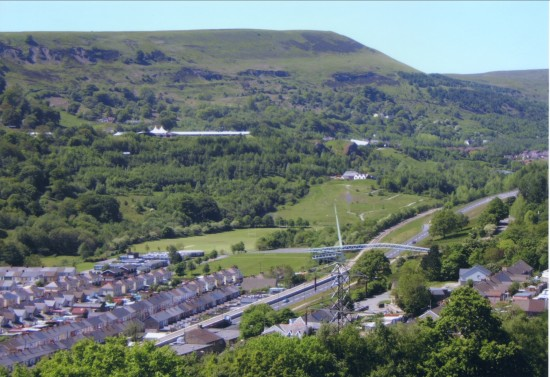 View North to Garden Festival Site from the mountainside above Cwm.
