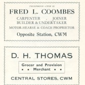 Fred L.Coombes,Undertaker.D.H.Thomas,Central Stores.