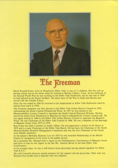 D.Ronald Evans ,Freeman of The Borough of  Blaenau Gwent.