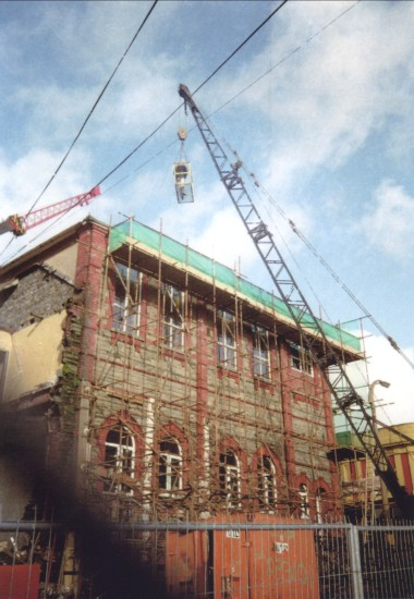 Demolition of Cwm Institute,after structural damage.