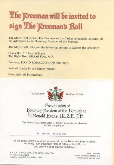Official Invitation to Mr.and Mrs.Enid Morris for The Honorary Freeman bestowed on David Ronald Evans,Labour Agent for Aneurin Bevan M.P. And Michael Foot M.P.