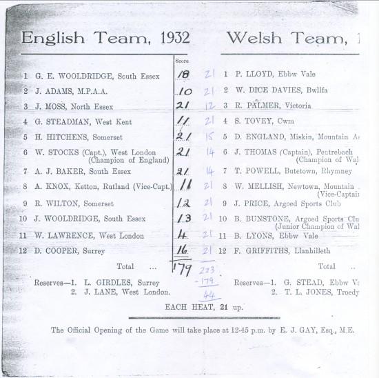Quoits International ,Wales 223 England 179