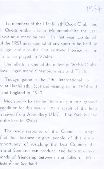 Quoits International 1954 at Llanhilleth