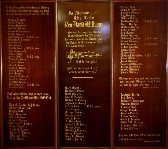 Memorial Panels - United Reformed Church, Blaina