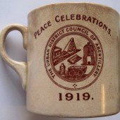 Commemorative mug produced by Abertillery Urban District Council