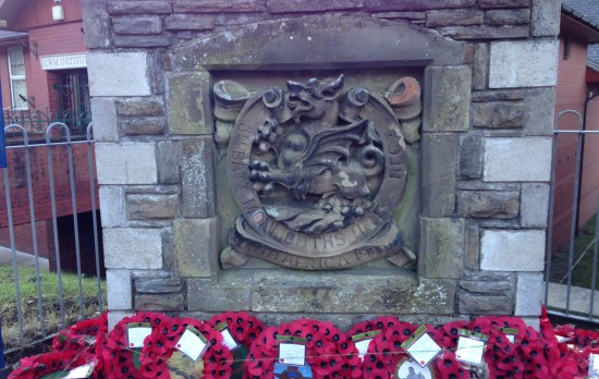 War memorial outside Cwm Library
