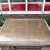 Memorial Plaque outside Cwm Library, 2014-04-29